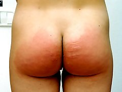 Hard spanking caning for naked young lovely - well striped ass