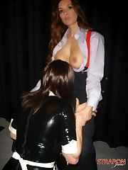 Strapon Jane dominates her hot Tgirl maid