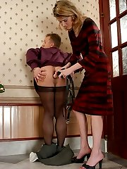 Filthy gal lowering guys pantyhose craving to put her strap-on into action