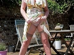 In her frothy frock, sheer full fashion nylons and spiky heels busty Michelle is ready for hot...