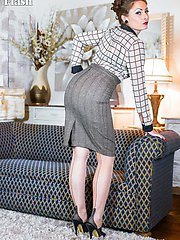 Sophia likes to get dressed in vintage lingerie, smart skirt and blouse, fully fashioned...
