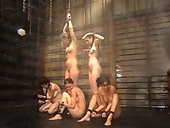 The walk of shame has never looked hotter as the five prisoners march one last time to the chain room. The water sprays wildly hitting clit after clit and the only comfort the girls have is each other�s soft lip kisses. Will the pussy licking, multiple orgasms and flogging ever end? Not without a fight and a little dunking. Yes, into the water you go my pretties. Lola and Jessica clasp hands while being dunked head first, their screams muffled by the water. The others snuggle up in a fish tank made for three complete with a vibrator and rapidly shrinking breathing space. So get a towel and get ready for this final update of the Waterbondage prison sentence, it will have you just as wet and panting as the prisoners. Enjoy!