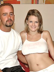 This hottie has huge ta tas and her man loves them