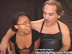 Pretty black girl sucking off a lucky white stud