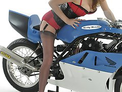 Fast bikes and nylon stockings, now thats something a woman like Jane loves to have between her...