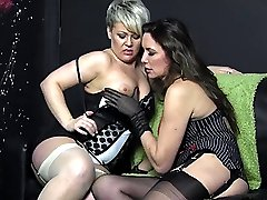 Smoking Milfs Nylon Jane and Bree relax after a cigarette and enjoy sucking each others big...