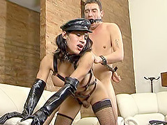 Kinky tranny riding a hard cock of her handcuffed and gagged male sub