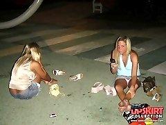 Sassy upskirt girls in pantyhose