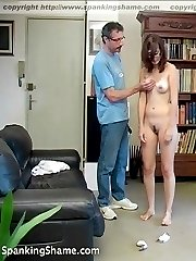 Lazy girl in red undies spanked to tears - big blistered bare bottom in pain
