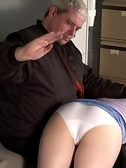 Spanked to tears in little white panties across his knee