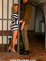Blonde inmate in whipping hell