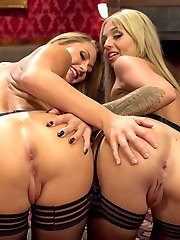 Aiden Starr punishes, trains and ass fucks two hot little blondes into submission for her entertainment. Carter Cruise's multiple orgasms are deeply intensified by sexy lesbian sex and BDSM.