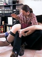 Sobbing guy spanked over the knee of cruel blonde bitch - hot burning buttocks