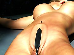 Busty babe in pussy whipping