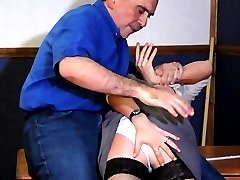 Spanked otk with skirt lifted around her waist - little white panties and red burning ass