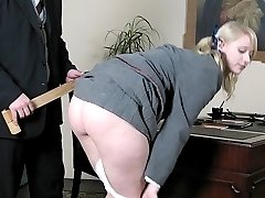 Beaten on her bare ass until she is ready for giving head!