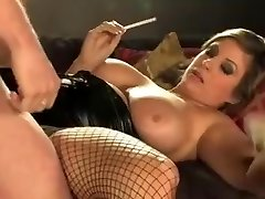 Brunette pops out loads of pussy juice in doggy style