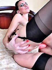 Horny mistress whips her sub and orders him on all fours for a strapon fuck