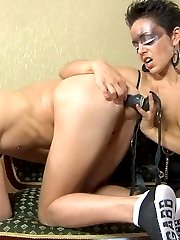 Strapon mistress ass fucking her sub after some leg and pussy worshipping