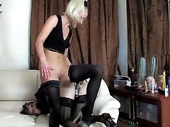 Freaky chick making sissy guy moaning from sizzling hot strap-on fucking