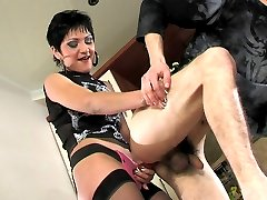 Kinky guy makes his girlfriend wear a strap-on aching for hard ass-pounding
