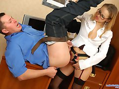 Lascivious business lady strap-on screwing guy to get a load of sticky cum