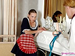Lewd French maid showing to guy a real strap-on fucking frenzy on the floor