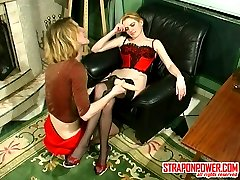 Horny guy almost moaning with pleasure in strap-on fucking with red hot gal