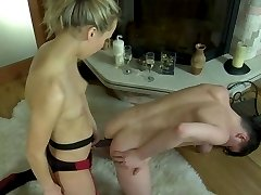 Stockinged cutie switches roles with her guy letting him ride her strapon