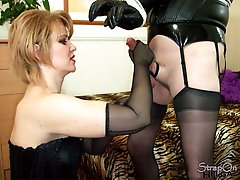 Strapon Helga makes this TGirl slut indulge into some rope play