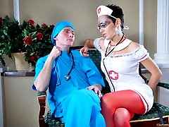 Nasty nurse dominates a male doc making him lick her ass and take up a toy