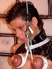 When I catch my slaves in a threesome I bring them down to my dungeon for a good tit torture...