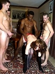 Brunette whore spends an evening with four cocks