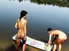 Stunning naked girls invite you to swim together. Dont miss such a chance