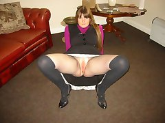 MILF in boots with fine tits spreads