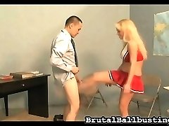 Now he wants her to use some of her cheer moves on his balls. She shows off some of her skills, busting his balls with hard kicks. He wasn't expecting such pain.