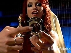 Nicki Hunter speaks directly to you! Shes going to lock your little pin dick into an evil metal...