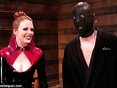 Latex Goddess Lydia McLane lords her power over slave boy rick as he squirms in an escape...