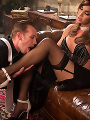 TS Seduction presents the debut of the ultimate femme fatale, Jonelle Brooks. Gorgeous and alluring, she weaves her seductive web around the unsuspecting, hard-boiled P.I. Will Havoc. He worships every inch of her--her feet, her lips, her ass and her long hard cock--giving himself up to be fucked and used. Even after Will cums riding Jonelle's punishing cock she continues to fuck him, until she puts him on his knees and blasts his face with a giant load, making him an unwitting victim of her wiles.