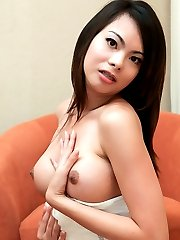Hot new ladyboy plays with her cock