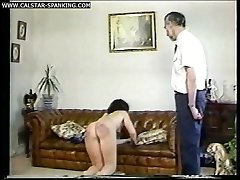 Two filthy bitches spanked caned in stockings and fully nude