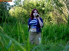 Spying on peeing redhair chubby teen