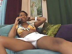 Ebony Cheerleader Tristina Millz Workin' Her Bush