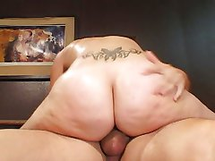Shaved pussy fucked in the office