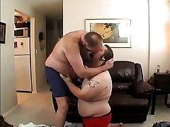 Fat dad fucks fat son