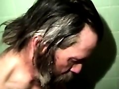 Mature straight bears in shower fucking before rimjobs