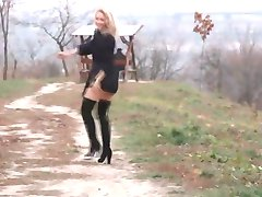 Sexy Alisa Stripping in Nature