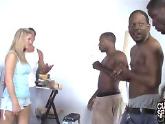 Breeding by several blacks in front of cuckold husband
