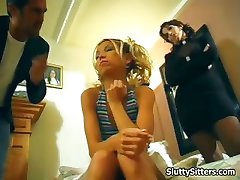 Husband and wife fuck the babysitter