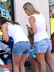 Mini shorts hottest upskirt view